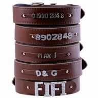 GogiPet ® Individual name dog collar made of real leather brown 65 cm with 3 adapters