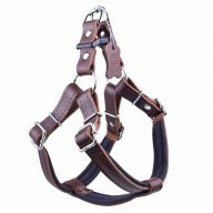 GogiPet ® Comfort leather dog harness brown L