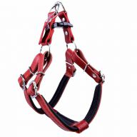GogiPet ® Comfort leather dog harness red L