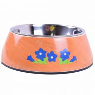 Blue gentian by Heino on pet bowl in the wood Design