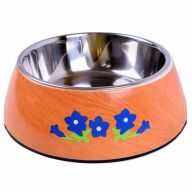 Heino with blue gentians on wood decor pet bowl