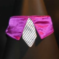 violet collar with white tie for dogs - GogiPet ®  size M