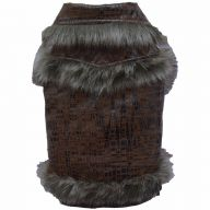 Luxury dog coat in the Croco design brown - leather dog coat of DoggyDolly W033 - Leather and fur
