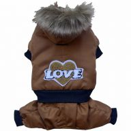brown Eskimo dog coat the warm dog clothing for the winter - dog snow suit of DoggyDolly W077