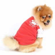 Red warm fleece dog sweater for winter