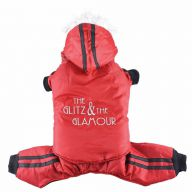 red snow suit for dogs - dog anorak with shrinkable trousers and shrinkable hood - DoggyDolly W102