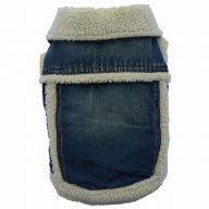 Warm dog garment of DoggyDolly - warm denim jacket with lambfur