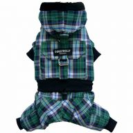 Dog snow suit green checked - the specially warm dog clothing for the winter of DoggyDolly