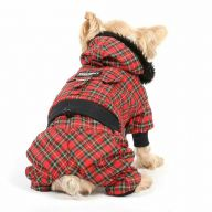 Warm dog clothes with 4 legs - red plaid dog coat