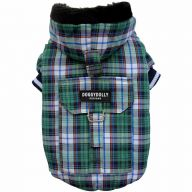 DoggyDolly dog clothing for the winter - warm dog clothing as a dog anorak green checked with hood - DoggyDolly W127