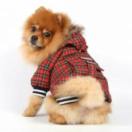 Plaid warm dog jacket for the winter red hooded