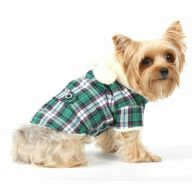 Green plaid dog coat with Hood