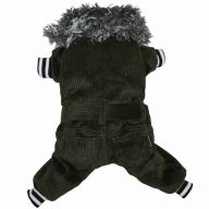 Dog clothing - green corduroy coat for dogs of DoggyDolly W175