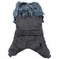warm dog coat from corduroy - dog clothing for the winter
