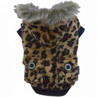 Luxury dog clothes - warm leopard dog coat