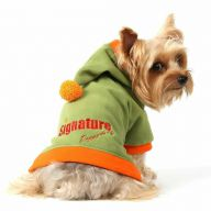 Green dog sweater with hood from warm fleece