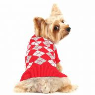 Red plaid knit sweater for dogs