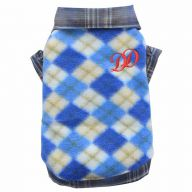 blue checkered dog sweater - warm sweater for dogs fleece