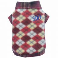warm dog clothes red plaid dog sweater by DoggyDolly