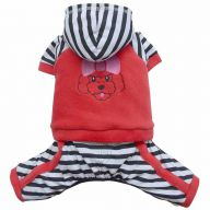 red Dog coat with striped trousers and hood by DoggyDolly Austria