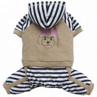 warm dog clothes by DoggyDolly dog fashions brown fleece top whit pants and hood