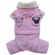 pink dog coat with normal dog heads - warm dog clothes by DoggyDolly